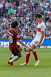 06.10.2018, HDI Arena, Hannover, GER, 1.FBL, Hannover 96 vs VfB Stuttgart<br /> <br /> DFL REGULATIONS PROHIBIT ANY USE OF PHOTOGRAPHS AS IMAGE SEQUENCES AND/OR QUASI-VIDEO.<br /> <br /> im Bild / picture shows<br /> Genki Haraguchi (Hannover 96 #10) im Duell / im Zweikampf mit Benjamin Pavard (VfB Stuttgart #21), <br /> <br /> Foto &copy; nordphoto / Ewert