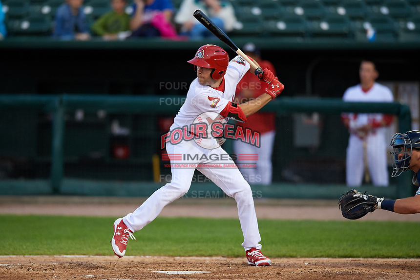 Peoria Chiefs right fielder Dylan Carlson (5) at bat during a game against the West Michigan Whitecaps on May 8, 2017 at Dozer Park in Peoria, Illinois.  West Michigan defeated Peoria 7-2.  (Mike Janes/Four Seam Images)