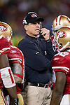 San Francisco 49ers Head Coach Jim Harbaugh looks on during an NFC Championship NFL football game against the New York Giants on January 22, 2012 in San Francisco, California. The Giants won 20-17 in overtime. (AP Photo/David Stluka)