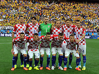 SAO PAULO - BRASIL -12-06-2014. Jugadores de Croacia posan para una foto de grupo previo al encuentro contra Brasil por el Grupo A fase inicial jugado en el estadio Arena Corinthians de Sao Paulo por la Copa Mundial de la FIFA Brasil 2014./ Players of Croatia pose to a photo group prior a match against Brazil during the match of Group A of the initial phase played at Arena Corinthians in Sao Paulo for the 2014 FIFA World Cup Brazil. Photo: VizzorImage / Alfredo Gutiérrez / Cont