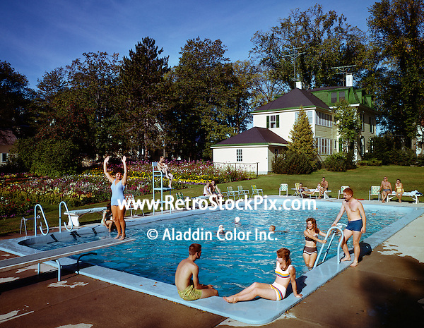 Bethel Inn. Woman on the diving board ready to jump into the pool