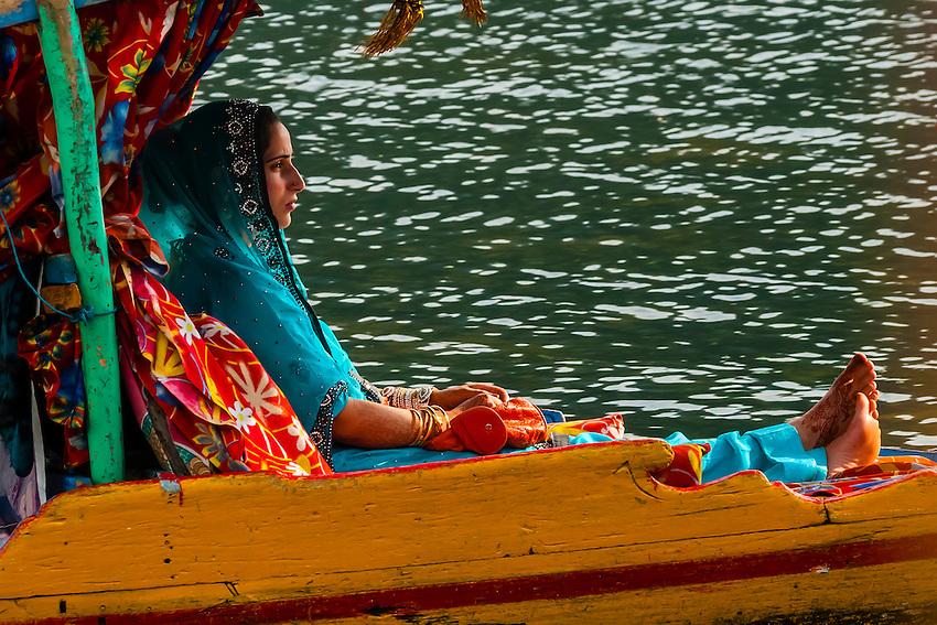 Shikaras (boats) on Dal Lake, Srinagar, Kashmir, Jammu and Kashmir State; India.