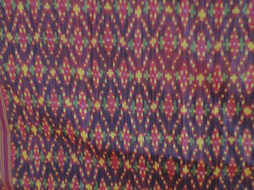 ANTIQUE CAMBODIA SILK IKAT TIE DYE