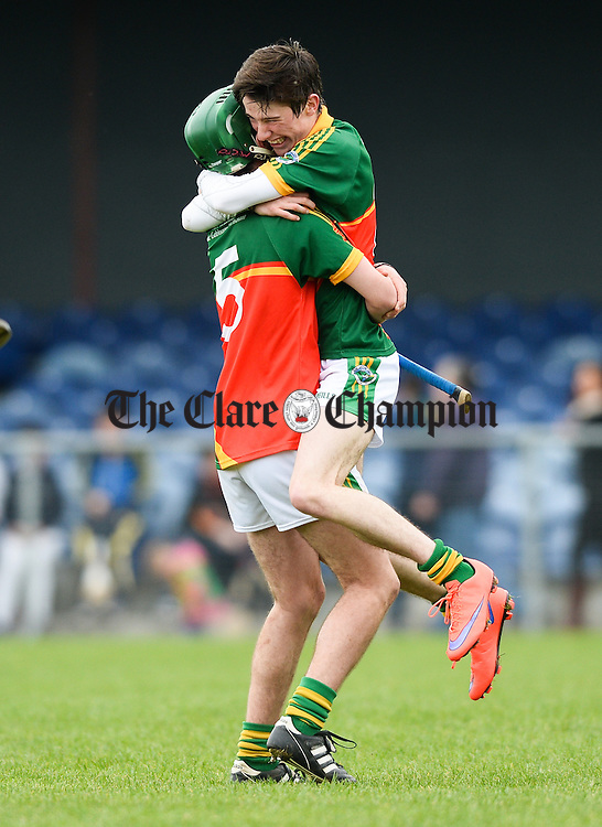 Matthew Troy and Michael Hogan of Broadford celebrate their win over Wolfe Tones in the Minor A county final at Sixmilebridge. Photograph by John Kelly.