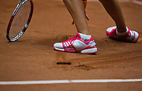 The Netherlands, Den Bosch, 16.04.2014. Fed Cup Netherlands-Japan, Feet on clay court<br /> Photo:Tennisimages/Henk Koster