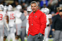 Ohio State Buckeyes head coach Urban Meyer watches his team during warmups before a NCAA college football game between the Purdue Boilermakers and the Ohio State Buckeyes on Saturday, October 20, 2018 at Ross-Ade Stadium in West Lafayette, Indiana. [Joshua A. Bickel/Dispatch]
