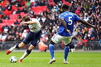 Harry Kane of Tottenham Hotspur gets in a shot past Bruno Ecuele Manga of Cardiff City during Tottenham Hotspur vs Cardiff City, Premier League Football at Wembley Stadium on 6th October 2018