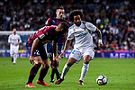 Marcelo Vieira Da Silva (r) of Real Madrid battles for the ball with David Rodriguez Lomban of SD Eibar  during the La Liga 2017-18 match between Real Madrid and SD Eibar at Estadio Santiago Bernabeu on 22 October 2017 in Madrid, Spain. Photo by Diego Gonzalez / Power Sport Images