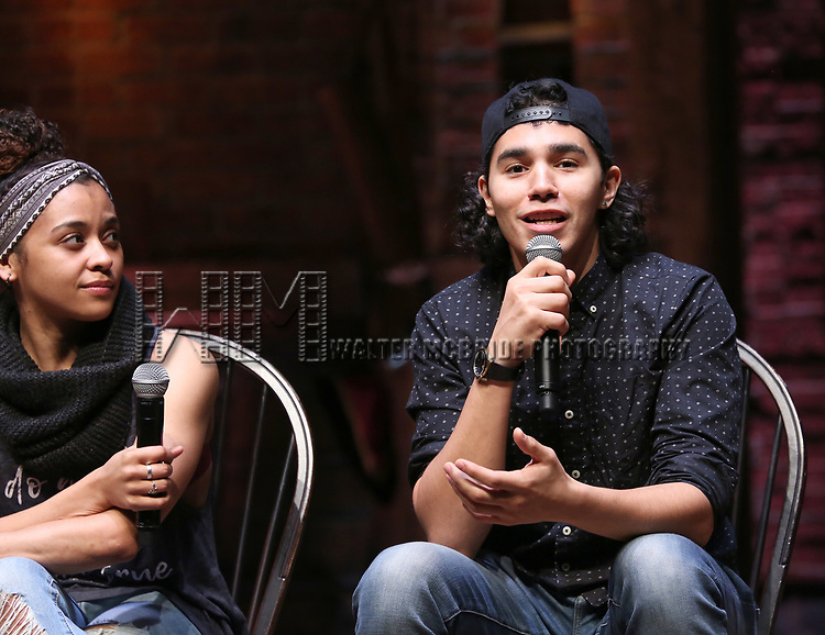 """Sasha Hollinger and Anthony Lee Medina during The Rockefeller Foundation and The Gilder Lehrman Institute of American History sponsored High School student #EduHam Q & A  before matinee performance of  """"Hamilton"""" at the Richard Rodgers Theatre on 3/29/2017 in New York City."""