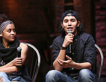 "Sasha Hollinger and Anthony Lee Medina during The Rockefeller Foundation and The Gilder Lehrman Institute of American History sponsored High School student #EduHam Q & A  before matinee performance of  ""Hamilton"" at the Richard Rodgers Theatre on 3/29/2017 in New York City."