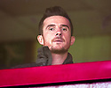 Clyde manager Barry Ferguson watches the Shire v Elgin match from the comfort of the hospitality box at Ochilview.