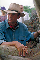 Jurassic Park (1993)<br /> Actor Sam Neill as Dr. Alan Grant, tending to a sick Triceratops in a scene from the film  <br /> *Filmstill - Editorial Use Only*<br /> CAP/KFS<br /> Image supplied by Capital Pictures