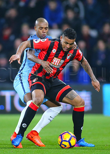 February 13th 2017, Vitality Stadium, Bournemouth, Dorset, England; EPL Premier league football, Bournemouth versus Manchester City; Joshua King of Bournemouth shileds the ball from Fernandinho of Manchester City