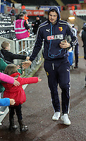 A Watford player arrives before the Barclays Premier League match between Swansea City and Watford at the Liberty Stadium, Swansea on January 18 2016