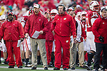 Wisconsin Badgers assistant coach Bret Bielema looks on during an NCAA Big Ten Conference college football game against the Penn State Nittany Lions on November 26, 2011 in Madison, Wisconsin. The Badgers won 45-7. (Photo by David Stluka)