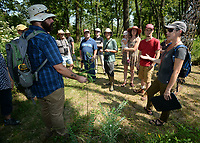 NWA Democrat-Gazette/ANDY SHUPE<br /> Marson Nance (left), director of land protection and stewardship for the Northwest Arkansas Land Trust, and Jennifer Ogle (right), volunteer botanist, speak Saturday, Sept. 7, 2019, about the rare swamp milkweed that is found on the property during a tour of the Wilson Springs Preserve in Fayetteville. The Northwest Arkansas Land Trust has been working for seven years to preserve and restore the 121-acre prairie wetland and opened the area to visitors with Immerse, a nature and arts festival.