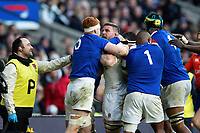 A fight breaks out between Felix Lambey of France and Mark Wilson of England. Guinness Six Nations match between England and France on February 10, 2019 at Twickenham Stadium in London, England. Photo by: Patrick Khachfe / Onside Images