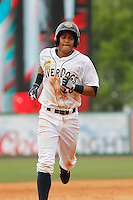 Charleston RiverDogs infielder Allen Valerio (20) running the bases during a game against the Augusta GreenJackets at Joseph P.Riley Jr. Ballpark on April 15, 2015 in Charleston, South Carolina. Charleston defeated Augusta 8-0. (Robert Gurganus/Four Seam Images)