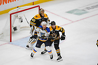 June 6, 2019: St. Louis Blues left wing Jaden Schwartz (17) and Boston Bruins defenseman Steven Kampfer (44) battle in front of goaltender Tuukka Rask (40) during game 5 of the NHL Stanley Cup Finals between the St Louis Blues and the Boston Bruins held at TD Garden, in Boston, Mass. The Blues defeat the Bruins 2-1 in regulation time. Eric Canha/CSM