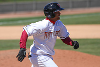 Wisconsin Timber Rattlers third baseman Sthervin Matos (9) during a game against the Cedar Rapids Kernels on April 23rd, 2015 at Fox Cities Stadium in Appleton, Wisconsin.  Cedar Rapids defeated Wisconsin 3-0.  (Brad Krause/Four Seam Images)