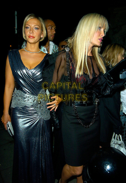 "LIZ FULLER & CAPRICE BOURRET.""Swarovski Fashion Rocks"" afterparty, Baglioni, London, England..October 18th, 2007.full length grey gray silver metallic dress wrap 3/4 sheer necklace belt profile .CAP/CAN.©Can Nguyen/Capital Pictures"