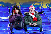 1st February 2020; St Andrews, Birmingham, Midlands, England; English Championship Football, Birmingham City versus Nottingham Forest; Two Nottingham Forest fans arrived early waiting for the game to start