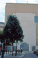 London: Sainsbury Wing--North Facade with Venturi Signage.  Photo 2005.