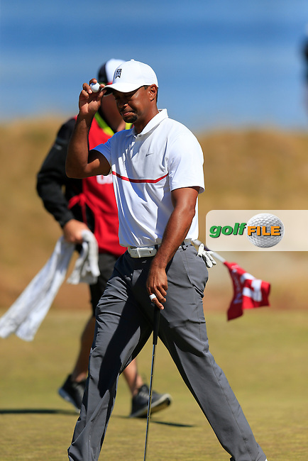Tiger WOODS (USA) sinks his putt on the 17th green during Friday's Round 2 of the 2015 U.S. Open 115th National Championship held at Chambers Bay, Seattle, Washington, USA. 6/19/2015.<br /> Picture: Golffile | Eoin Clarke<br /> <br /> <br /> <br /> <br /> All photo usage must carry mandatory copyright credit (&copy; Golffile | Eoin Clarke)