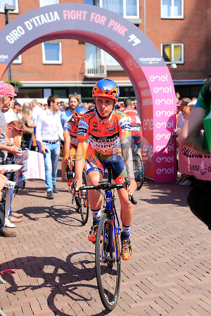 Nippo-Vini Fantini team arrives at sign on before the start of Stage 2 of the 2016 Giro d'Italia running 190km from Arnhem to Nijmegen, The Nethrerlands. 7th May 2016.<br /> Picture: Eoin Clarke | Newsfile<br /> <br /> <br /> All photos usage must carry mandatory copyright credit (&copy; Newsfile | Eoin Clarke)
