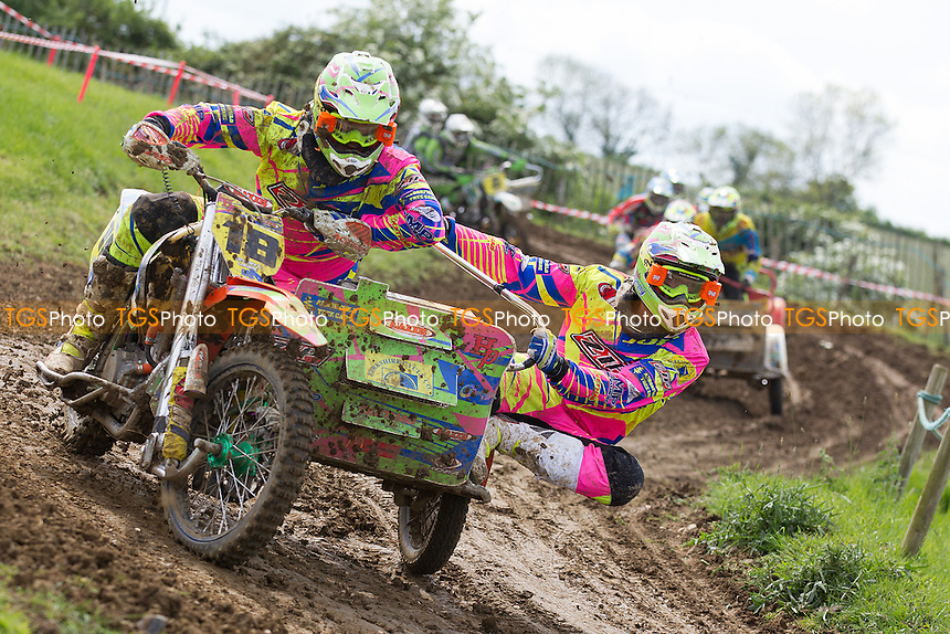 Danny Gray and Lewis Grey in action during ACU British Sidecar Cross Championship Round Three at Wattisfield Hall MX Track on 22nd May 2016