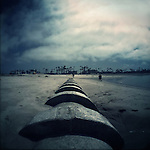 Low tide exposes a drainage pipleline at Venice Beach