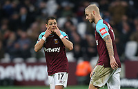 West Ham United's Javier Hernandez and Marko Arnautovic<br /> <br /> Photographer Rob Newell/CameraSport<br /> <br /> The Premier League - West Ham United v Watford - Saturday 10th February 2018 - London Stadium - London<br /> <br /> World Copyright &copy; 2018 CameraSport. All rights reserved. 43 Linden Ave. Countesthorpe. Leicester. England. LE8 5PG - Tel: +44 (0) 116 277 4147 - admin@camerasport.com - www.camerasport.com