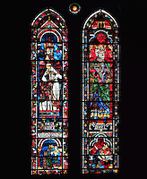 Melchizedek and Nebuchadnezzar, David and Saul, kings and high priests of the Old Testament, lancet window, North Rose window, circa 1230, Chartres Cathedral, Eure et Loir, France. Picture by Manuel Cohen