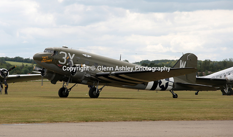 """C-47, N88874 """"That's All Brother"""", at the 75th Anniversary of the D-Day Landings, Duxford, United Kingdom, 5th June 2019. Photo by Glenn Ashley Photography"""