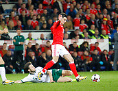 9th October 2017, Cardiff City Stadium, Cardiff, Wales; FIFA World Cup Qualification, Wales versus Republic of Ireland; Harry Arter (Republic of Ireland) slides in to challenge Tom Lawrence (Wales)