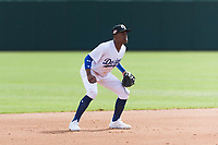 Glendale Desert Dogs shortstop Errol Robinson (3), of the Los Angeles Dodgers organization, during an Arizona Fall League game against the Scottsdale Scorpions at Camelback Ranch on October 16, 2018 in Glendale, Arizona. Scottsdale defeated Glendale 6-1. (Zachary Lucy/Four Seam Images)
