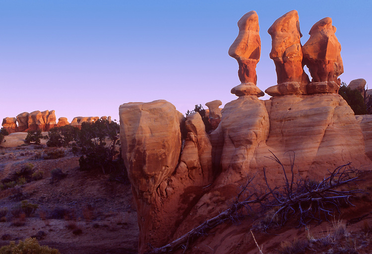 The erie hoodoos guard the Devils Garden, Escalante NM at sunrise