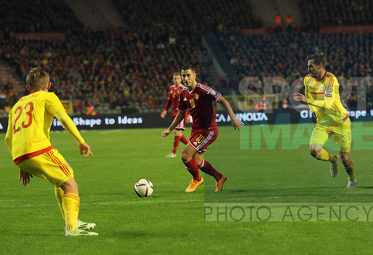 Belgium's Eden Hazard in action<br /> <br /> - European Qualifier - Belgium vs Wales- Heysel Stadium - Brussels - Belgium - 16th November 2014  - Picture David Klein/Sportimage