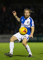 Stuart Sinclair of Bristol Rovers keeps eyes on the ball during the Sky Bet League 2 rearranged match between Bristol Rovers and Wycombe Wanderers at the Memorial Stadium, Bristol, England on 1 December 2015. Photo by Andy Rowland.