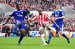 Ricardo Fuller of Stoke City gets in a volley past Bruno N'Gotty of Leicester City during the Championship League match at The Britannia Stadium, Stoke. Picture date 4th May 2008. Picture credit should read: Simon Bellis/Sportimage