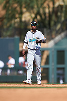 Salt River Rafters shortstop Geraldo Perdomo (7), of the Arizona Diamondbacks organization, during the Arizona Fall League Championship Game against the Surprise Saguaros on October 26, 2019 at Salt River Fields at Talking Stick in Scottsdale, Arizona. The Rafters defeated the Saguaros 5-1. (Zachary Lucy/Four Seam Images)