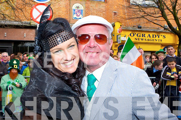 Carmel Joyce and Seanie O'Donogue perform the Killarney St Patricks parade on Thursday