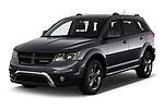 2019 Dodge Journey Crossroad FWD 5 Door SUV angular front stock photos of front three quarter view