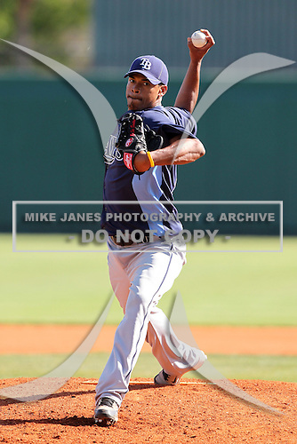 Tampa Bay Rays Richard De Los Santos #72 during a game vs. the Netherlands for an exhibition game at Al Lang Field in St. Petersburg, Florida;  March 9, 2011.  Tampa Bay defeated Netherlands 4-3.  Photo By Mike Janes/Four Seam Images