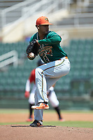 Greensboro Grasshoppers relief pitcher Jeremy Ovalle (29) in action against the Kannapolis Intimidators at Kannapolis Intimidators Stadium on August 5, 2018 in Kannapolis, North Carolina. The Grasshoppers defeated the Intimidators 2-1 in game one of a double-header.  (Brian Westerholt/Four Seam Images)