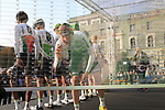 Team Dimension Data at sign on before the start of the 112th edition of Il Lombardia 2018, the final monument of the season running 241km from Bergamo to Como, Lombardy, Italy. 13th October 2018.<br /> Picture: Eoin Clarke | Cyclefile<br /> <br /> <br /> All photos usage must carry mandatory copyright credit (© Cyclefile | Eoin Clarke)