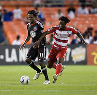 Joseph Ngwenya (11) of D.C. United fights for the ball with Ugo Ihemelu (3) of FC Dallas during the game at RFK Stadium in Washington, DC.  D.C. United tied FC Dallas, 0-0.
