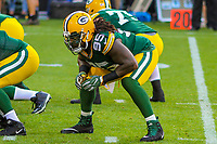 Green Bay Packers defensive tackle Ricky Jean Francois (95) during a preseason football game against the Philadelphia Eagles on August 10, 2017 at Lambeau Field in Green Bay, Wisconsin. Green Bay defeated Philadelphia 24-9.  (Brad Krause/Krause Sports Photography)