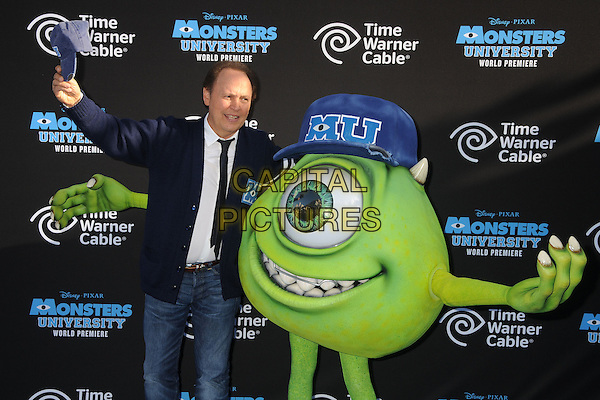 Billy Crystal<br /> &quot;Monsters University&quot; Los Angeles Premiere held at the El Capitan Theatre, Hollywood, California, USA.<br /> June 17th, 2013<br /> half length blue cardigan white shirt tie jeans denim hand arm in air<br /> CAP/ADM/BP<br /> &copy;Byron Purvis/AdMedia/Capital Pictures