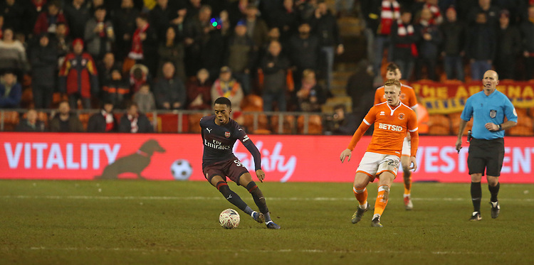 Arsenal's Joe Willock<br /> <br /> Photographer Stephen White/CameraSport<br /> <br /> Emirates FA Cup Third Round - Blackpool v Arsenal - Saturday 5th January 2019 - Bloomfield Road - Blackpool<br />  <br /> World Copyright © 2019 CameraSport. All rights reserved. 43 Linden Ave. Countesthorpe. Leicester. England. LE8 5PG - Tel: +44 (0) 116 277 4147 - admin@camerasport.com - www.camerasport.com